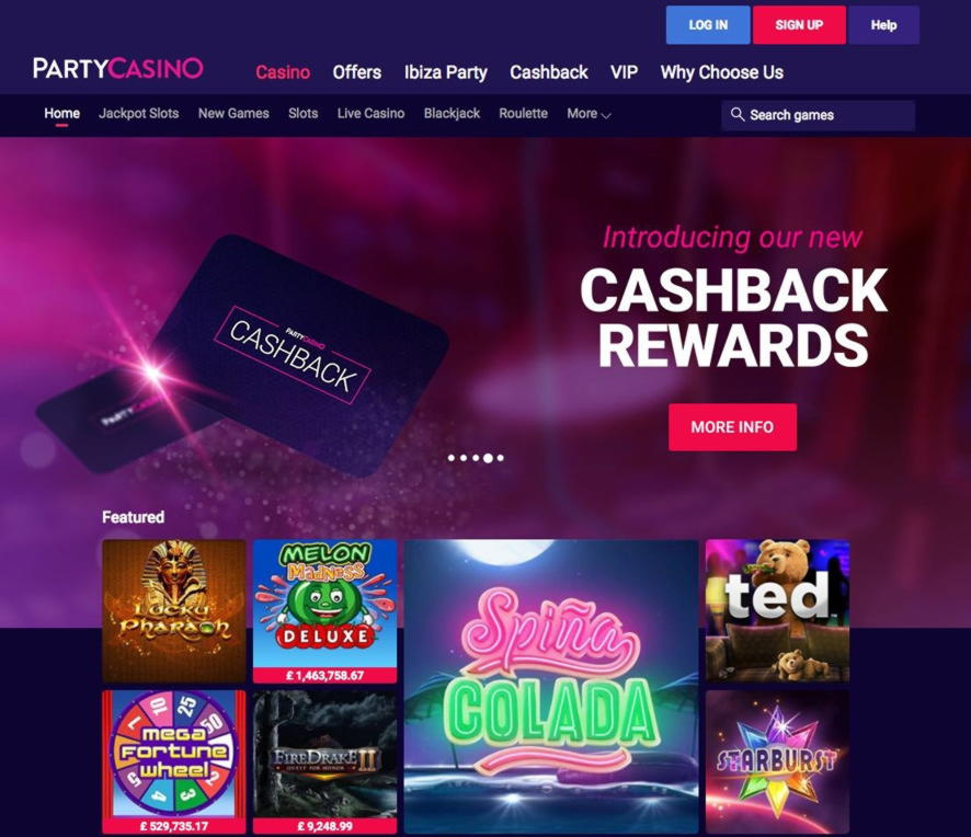 90 Free Spins no deposit casino at Party Casino